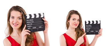 The woman holding movie clapperboard isolated on white Stock Image