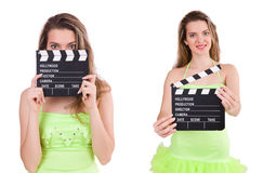 The woman holding movie clapperboard isolated on white Stock Photo