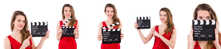 The woman holding movie clapperboard isolated on white Royalty Free Stock Photos