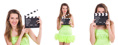 The woman holding movie clapperboard isolated on white Royalty Free Stock Photography