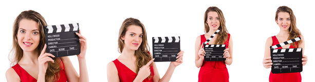 The woman holding movie clapperboard isolated on white Royalty Free Stock Images