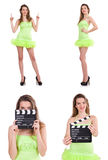 The woman holding movie clapperboard isolated on white Stock Photography