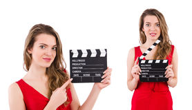 The woman holding movie clapperboard isolated on white Stock Photos