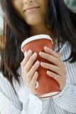 Woman holding mug Stock Photo