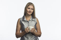 Woman holding mug with hot beverage, horizontal Stock Photos
