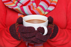Woman holding a mug of hot chocolate royalty free stock image
