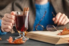 Woman holding mug of hot drink apple tea, mulled wine. Female hands with cup of seasonal hot drink. Homemade hot fruit tea. Royalty Free Stock Image