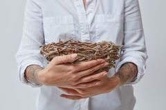 The woman is holding a nest of branches royalty free stock images