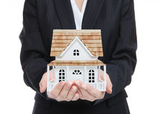 Woman Holding New Home royalty free stock photography