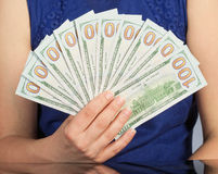 Woman Holding New 100 US Dollar Bills Royalty Free Stock Images