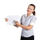 Woman holding note pad Royalty Free Stock Photography