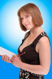 Woman holding a notebook Stock Images