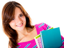 Woman holding notebooks Stock Image