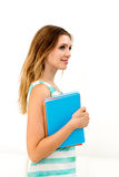Woman holding notebooks Royalty Free Stock Photography
