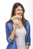 Woman holding notes royalty free stock images