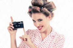 Woman holding Old Camera Royalty Free Stock Photos