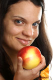 woman holding one organic apple Stock Photography