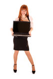 Woman holding an open laptop Royalty Free Stock Photos