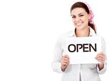Woman holding an open sign Stock Image