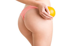 Woman Holding an Orange Against Her Thighs Royalty Free Stock Photography
