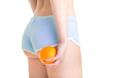 Woman Holding an Orange Against Her Thighs Stock Photography