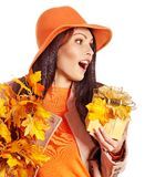 Woman holding  orange handbag. Stock Photo