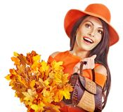 Woman holding  orange handbag. Royalty Free Stock Photos