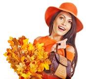 Woman holding  orange handbag. Royalty Free Stock Photos