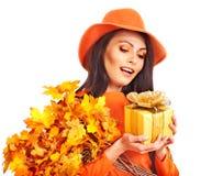 Woman holding  orange handbag. Stock Photography