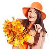 Woman holding  orange handbag. Stock Photography