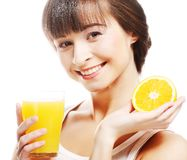 Woman holding  orange juice Stock Image
