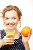 Woman holding orange and  juice over white Royalty Free Stock Photo
