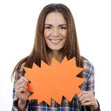 Woman holding orange panel Stock Images