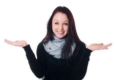 Woman holding out her hand Royalty Free Stock Photo