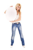 Woman holding oval billboard Royalty Free Stock Images