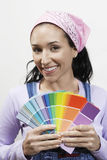 Woman Holding Paint Color Samples Stock Images