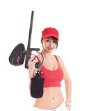 Woman holding a paintball marker Stock Images