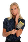 Woman Holding Paintbrush Royalty Free Stock Image