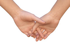 Woman is holding palms of her hands together Royalty Free Stock Photos