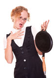 Woman holding pan Stock Images