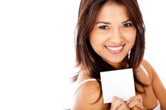 Woman holding a paper Royalty Free Stock Photo