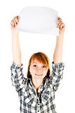 Woman holding paper Royalty Free Stock Photo