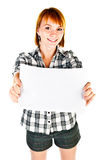 Woman holding paper Royalty Free Stock Image