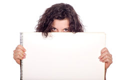 Woman holding paper board Stock Images