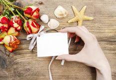 Woman holding paper card in beautiful hands Royalty Free Stock Photos