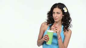Woman holding paper cup with a straw stock video