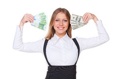 Woman holding paper money Royalty Free Stock Photos