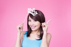 Woman holding paper party sticks Stock Image
