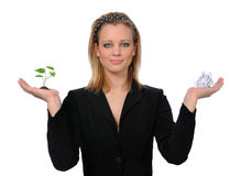 Woman Holding paper and Plant Royalty Free Stock Photo