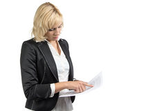 Woman holding paper sheet Royalty Free Stock Photography